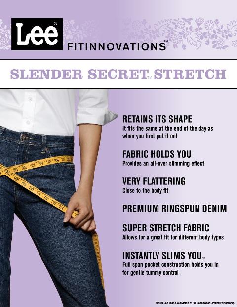 lee jeans slender secret stretch
