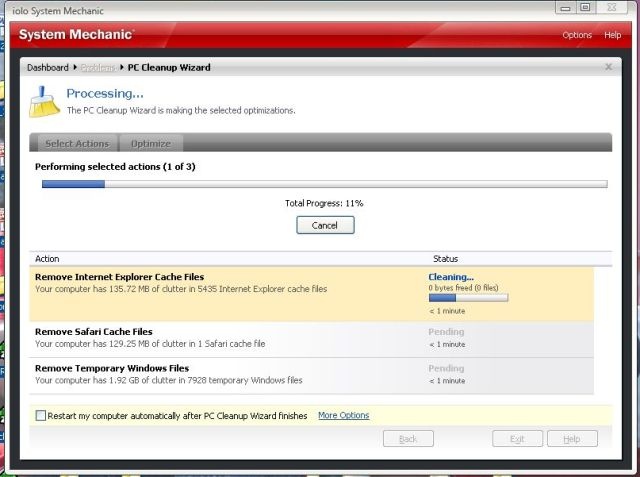 system mechanic pc cleanup wizard