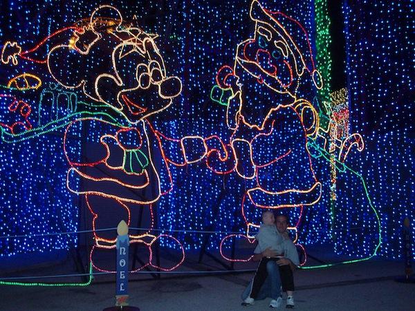 LB2 and CJ in front of disney Osborne Santa Mickey