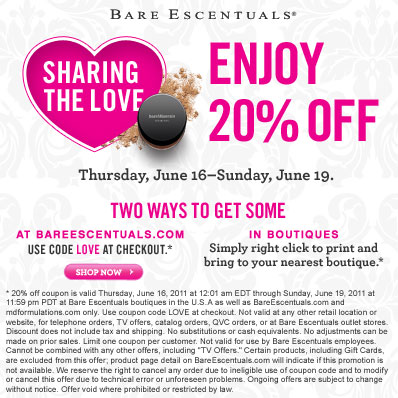 Bare Escentuals Sharing The Love Coupon