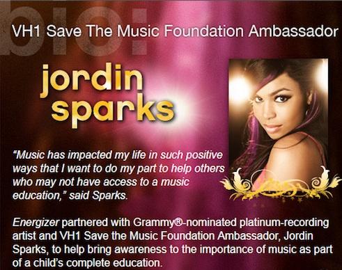 Energizer Vh1 Save The Music Foundation Jordin Sparks Banner