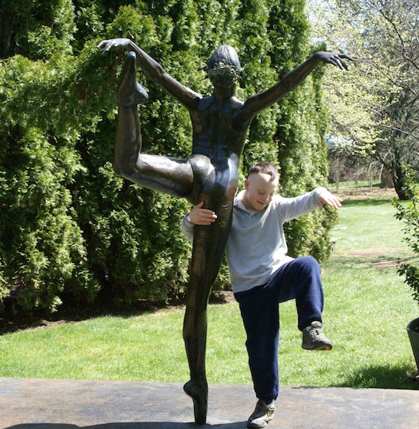 Wordless Wednesday - CJ with ballerina sculpture