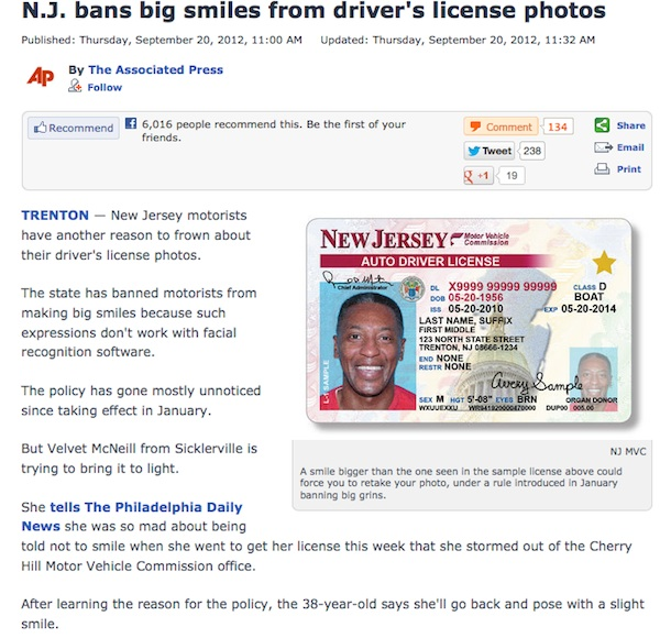 New Jersey Smileless Drivers License