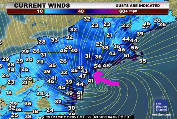 Weather Channel Monday 4pm Wind Map