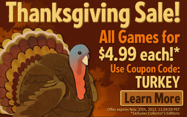 Big Fish Games Thanksgiving 2012 Sale