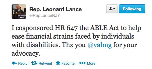 Lance Cosponsor ABLE Tweet