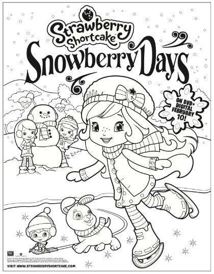 Strawberry Shortcake Snowberry Days free coloring sheet