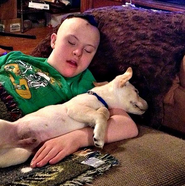 CJ with dog