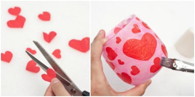 Mom Knows It All DIY Valentine's Day Craft - Decoupage Heart Jar