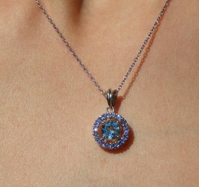 Majesty Diamonds Blue Topaz and Tanzanite Halo Pendant